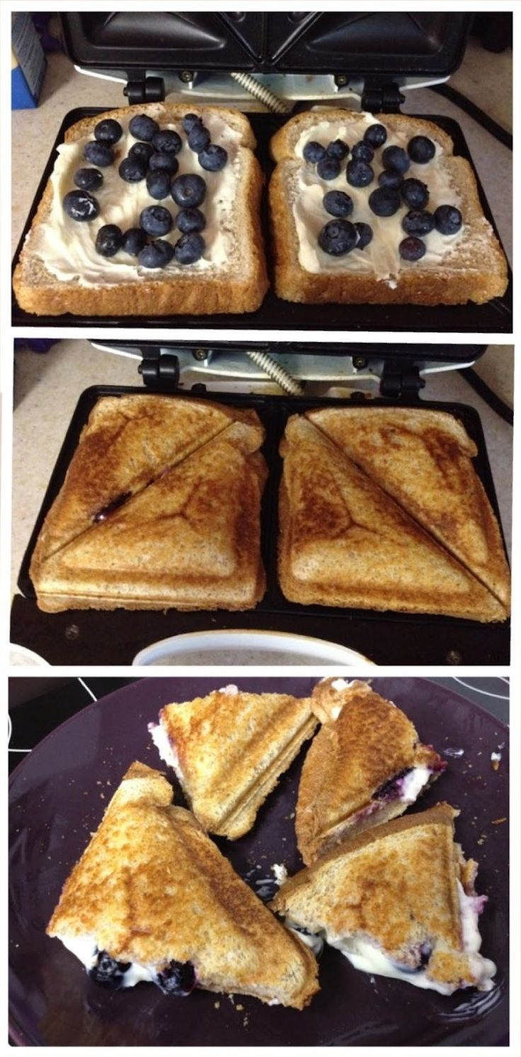 Blueberry Breakfast Grilled Cheese! Cream cheese, powdered sugar, blueberries, bread.