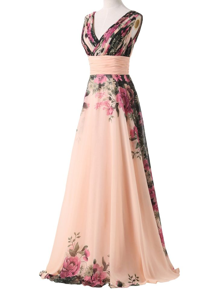 Amazon.com: Floral Print Graceful Chiffon Prom Dress for Women (Multi-Colored): Clothing