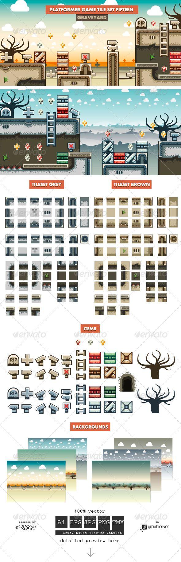 Platformer Game Tile Set Fifteen