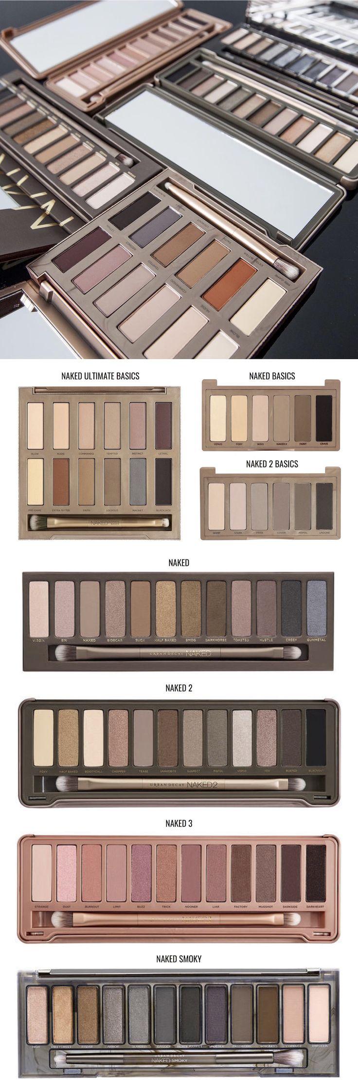 Olha só todas as versões de Paletas Naked, incluindo a Naked Ultimate Basics, lado a lado pra vocês compararem. Me contem qual a sua versão favorita.