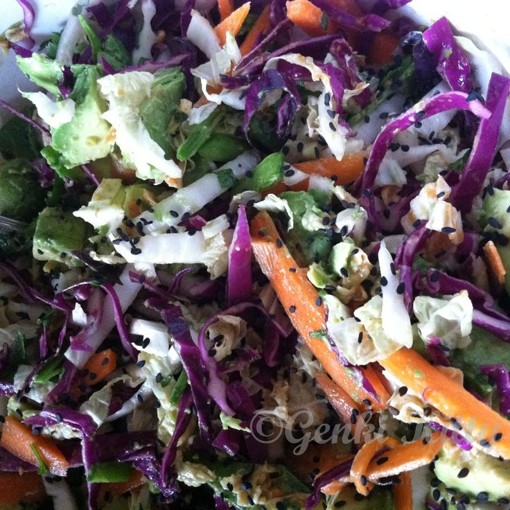 crunchy cabbage salad with spicy peanut dressing Vegan recipe