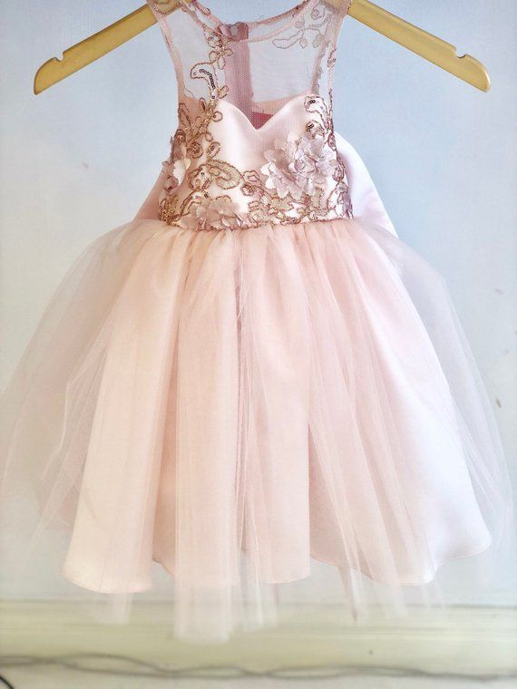 3bb213608d Isabella Dress Lace Sequin blush pink flower girl dress tulle skirt formal  rose sequin dress sizes 6m to 20 sweetheart top champagne dusty