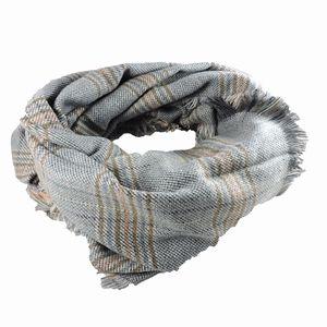 mooie grijze sjaal / omslagdoek met ruitjes