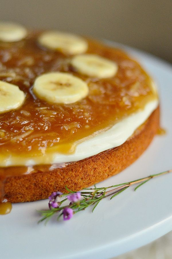 Salted Caramel Coconut Banana Cake reluctantentertainer.com