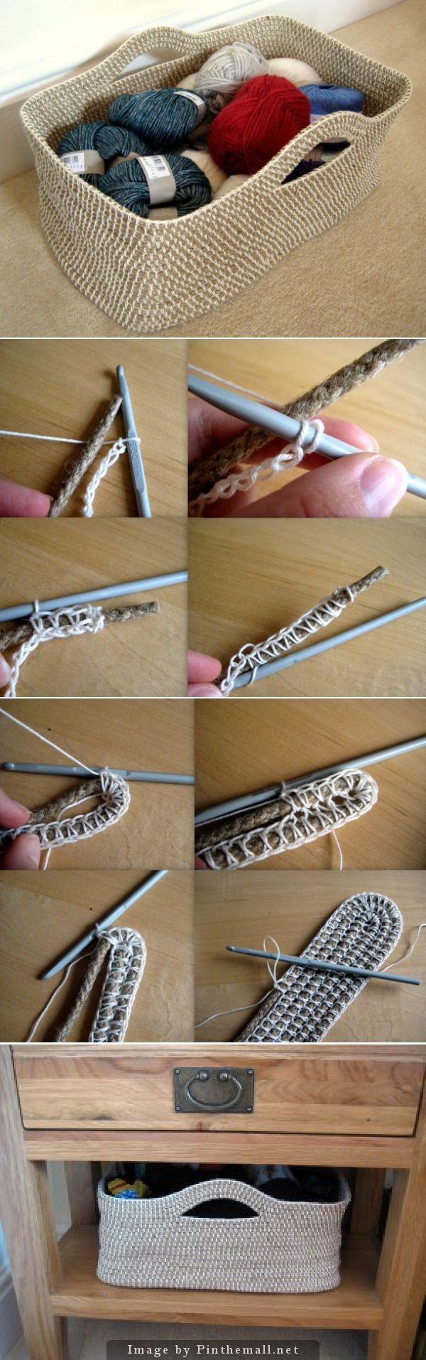 "Tutoría de ganchillo paso apaso: Cómo tejer una cesta sobre cuerda   -   Crochet Tutorial: How to crochet a basket over rope. Lots of informative text and photos to make a sturdy rope container.""o"