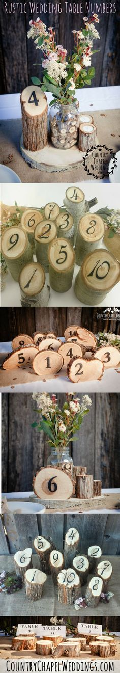 Loooove these table numbers. This website has the cutest rustic wedding decor!  #rusticwedding #tablenumbers #wedding #woodlandwedding #springwedding #ido