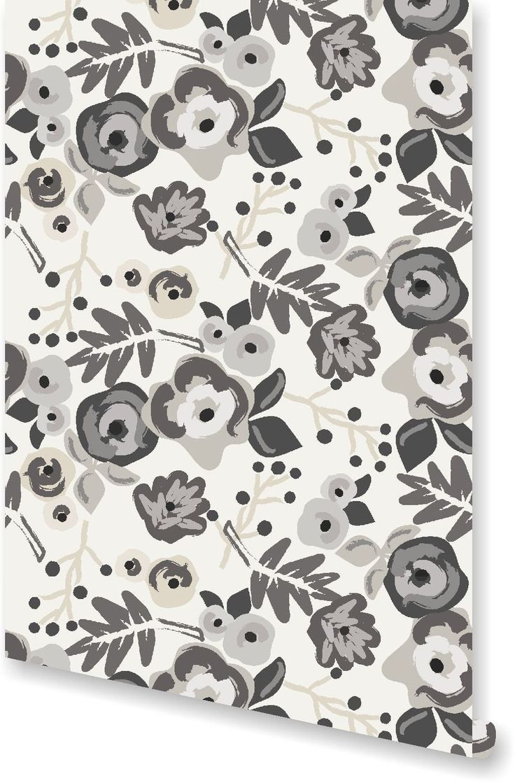 Grayson silver gray jacquard fabric cloth bathroom bath shower curtain - Bloom Charcoal Wallpaper By Clairebella