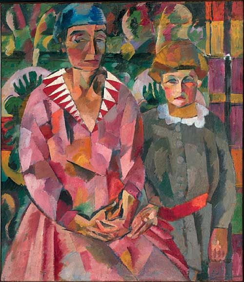 Aristarkh Lentulov (Russian, 1882-1943) - 	  Portrait of Artist's Wife and Daughter, 1915