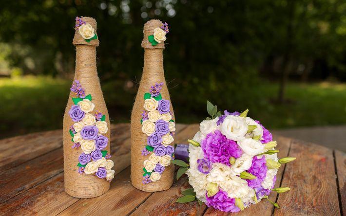 Descargar fondos de pantalla de la boda, el ramo de novia, de boda adornos, botellas de champán, botella de decoración, rosas