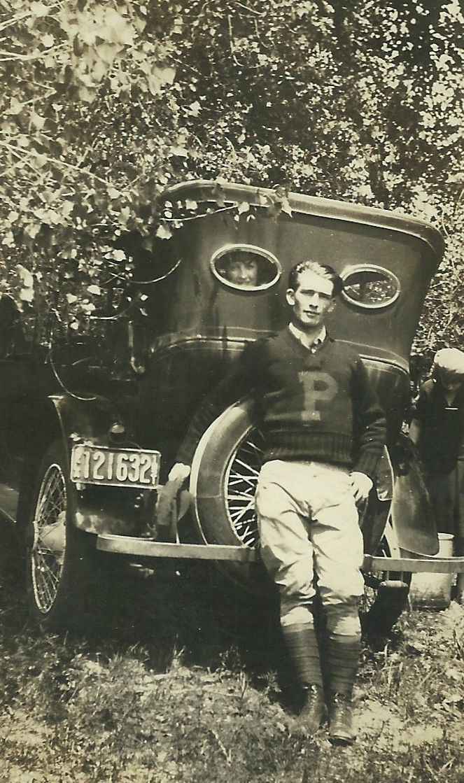 Letterman, 1920's photo print men's wear sweater pants boots vintage car, found photo man