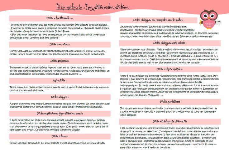 Fiche pédagogique / didactique.  Les différentes dictées.