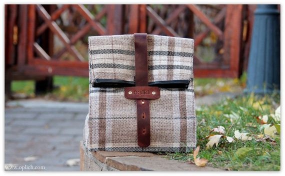 Plaid Lunch Tote for Men and Women / Insulated Lunch Bag / Valentines gift/ FREE PERSONALIZATION