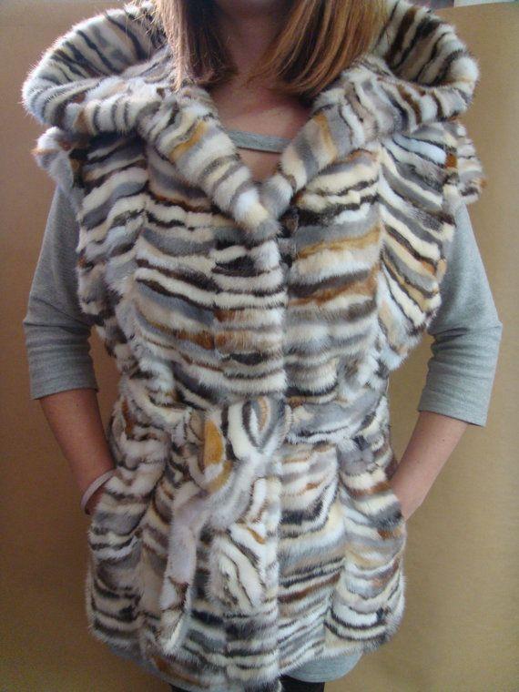 Real fur mink vest. Multicolour mink . by BeFur on Etsy, €460.00