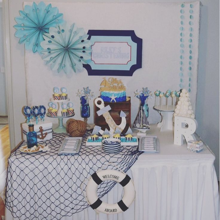 Our cute Nautical themed Christening party table styling - Tickled Pink Celebrations - www.tickledpinkcelebrations.com.au