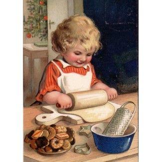 Vintage Christmas - Girl Baking Cookies card