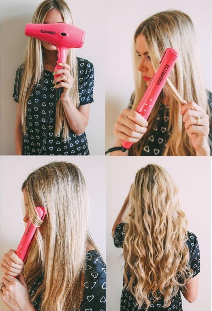 faire des boucles avec un fer à lisser, cheveux longs blonds, sèche cheveux rose