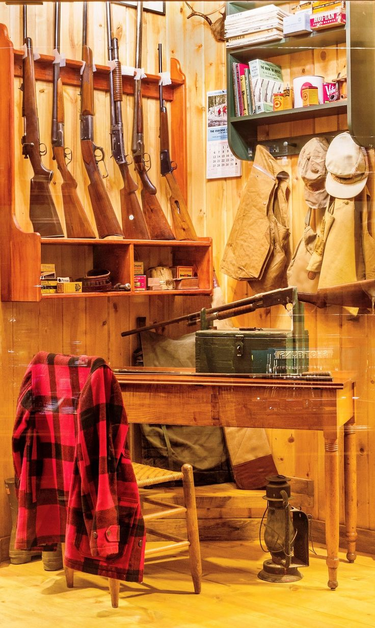 Gun room amp trophy room done hunting - Hunter S Cabin This Scene Depicts A Hunting Camp Circa