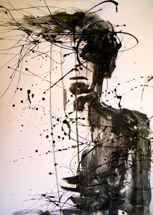 half-formed human. ink splatters, lines, and splotches. fluidity and disintegration.