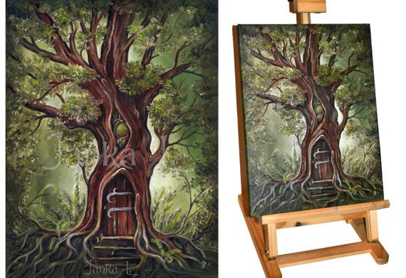 Original oil painting on canvas  Secret Place tree by JankaLart
