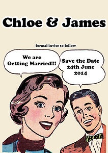 Details About PERSONALISED RETRO VINTAGE POP ART WEDDING SAVE THE DATES 102550100
