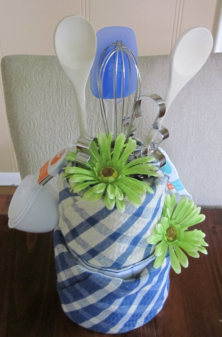 Bakers kitchen towel cake I made for a bridal shower ~ makes a great gift and decoration