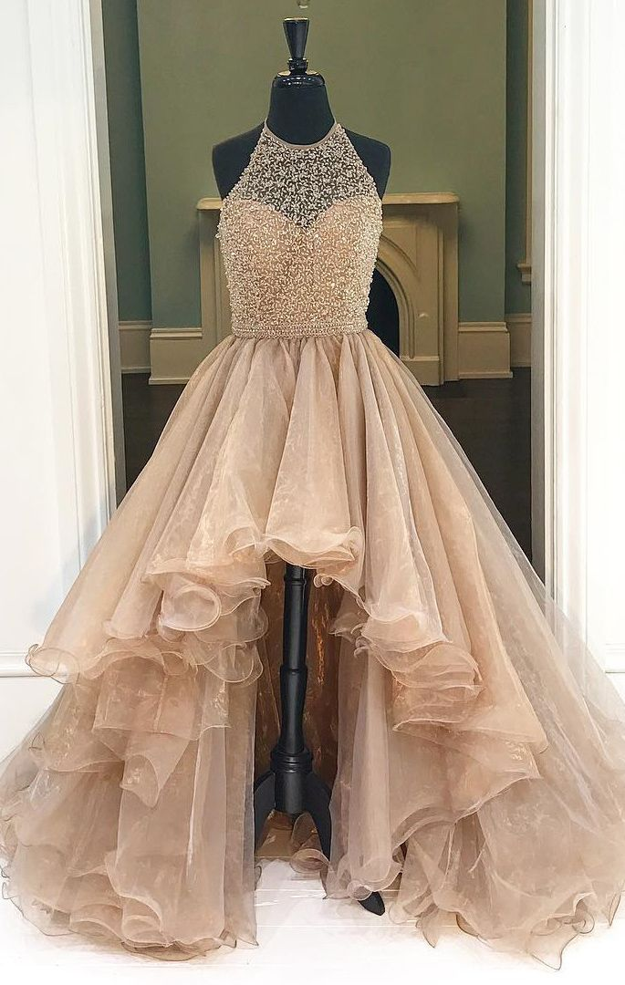 New Arrival Champagne Tiered Skirt Ball Gown Prom Dresses,Halter Front Short Long Back Quinceanera Dresses,Layers Fashion Evening Gowns Women Dress