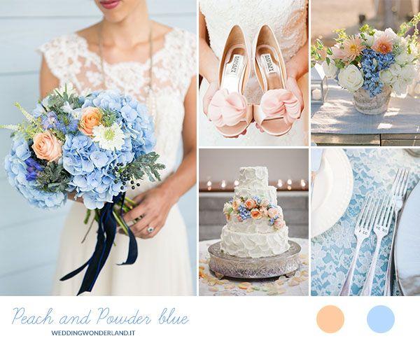 peach and powder blue wedding inspiration   more on http://weddingwonderland.it/2014/10/matrimonio-pesca-e-azzurro-polvere.html