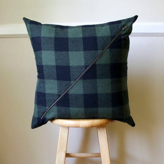 Wool Pillow Cover In Green And Black Buffalo Check 18x18 Etsy Buffalo Plaid Pillows Wool Pillows Plaid Pillow Covers