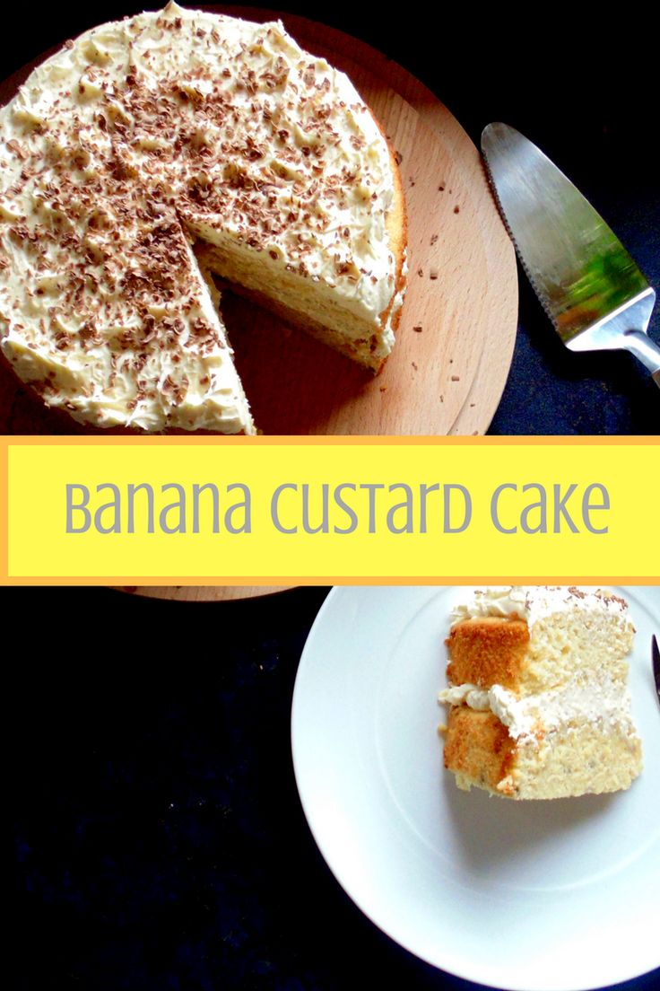 Moist and fluffy banana custard cake layered with light vanilla buttercream icing!