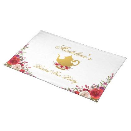 #Bridal Tea Party Bridal Shower Floral and Gold Placemat - #bridal #shower #gifts #wedding #bride