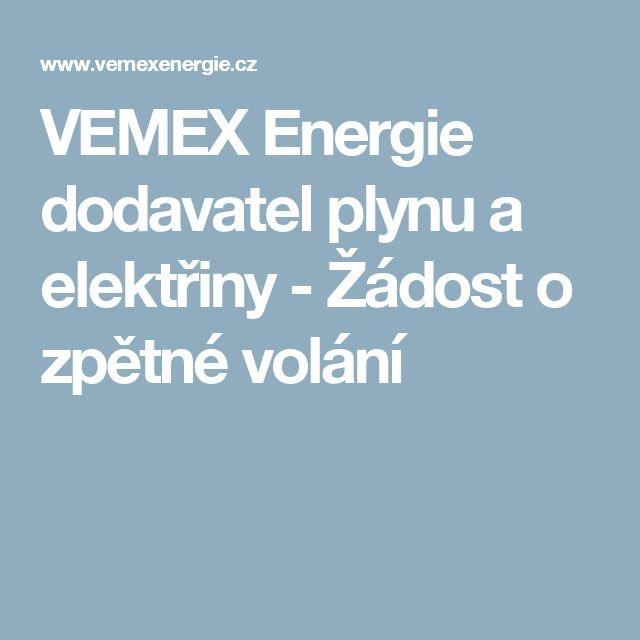 VEMEX Energie dodavatel plynu a elektřiny - Žádost o zpětné volání