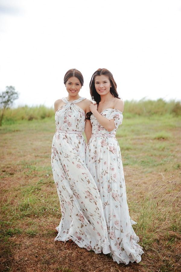 mismatched white floral printed bridemaid dresses
