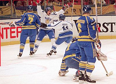 Finland. Ice Hockey World Champions 1995. First ever for Finland. Ville Peltonen x 3 in final against Sweden.