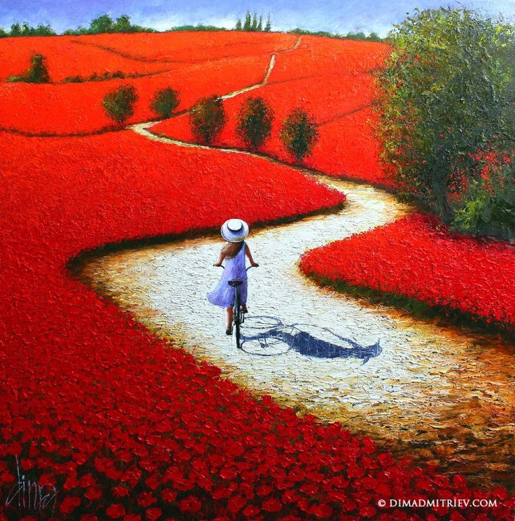 DIMA DMITRIEV (©2014 dimadmitriev.com) The painting characterized by strong colour and bold strokes makes with palette knife on a black canvas background playing with light and shadow.
