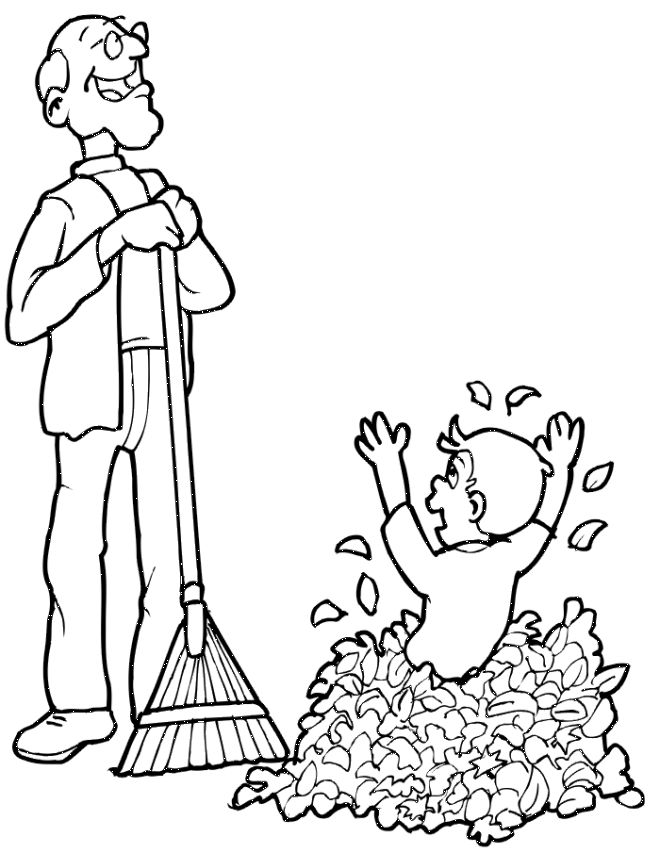 Playing in leaves coloring page Otoño
