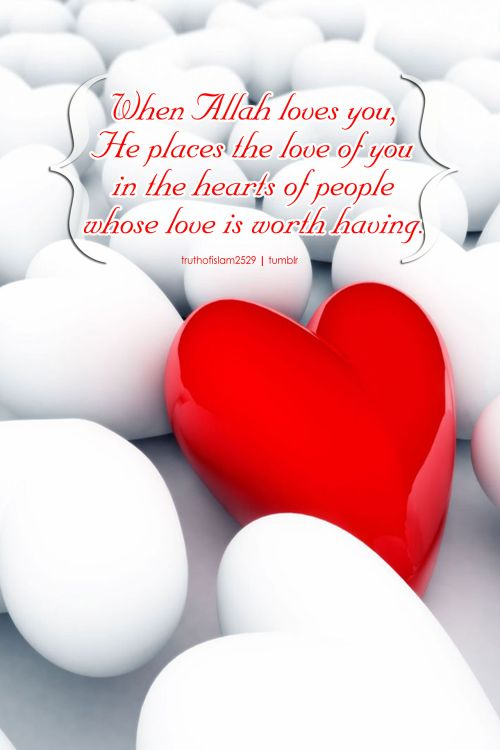 When Allah loves you, He places the love of you in... | Islamic Quotes