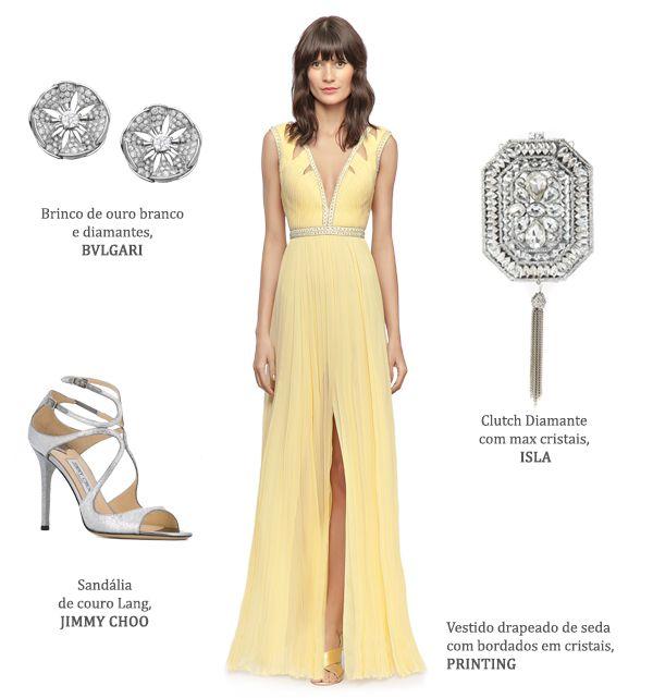 Look madrinha: vestido amarelo claro Printing + brincos de brilhantes Bulgari + clutch de cristais déco Isla + sandália Jimmy Choo