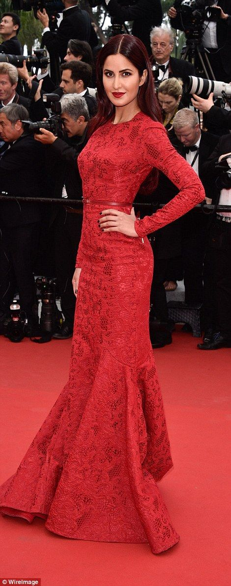 Red lace: Bollywood star Katrina Kaif looked gorgeous in her fishtail gown while model Emm...