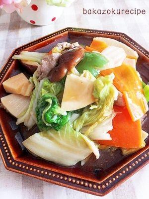 「一番簡単★八宝菜」まとめてフライパンに入れたら炒めて完成!八宝菜って8種類って意味じゃないそうなので具は何種でもOK!うずらの卵もいいですよね~。【楽天レシピ】