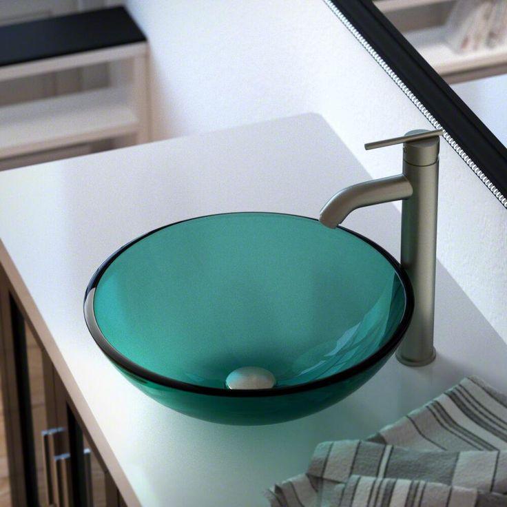 601 Emerald Glass Vessel Sink 718 Ensemble