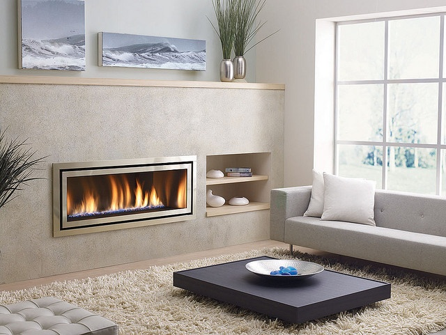 Love this built in fireplace ... like the inbuilt shelves too...