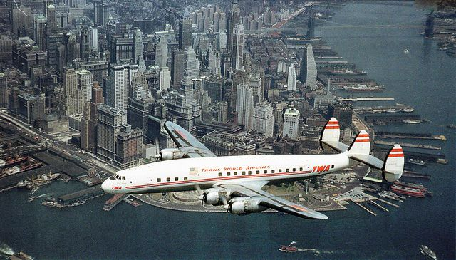 How totally cool would it be to slowly fly and take in the sights over Lower Manhattan in a brand new, four engine propeller TWA Constellation airplane like these folks did in 1953! by wavz13, via Flickr