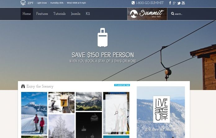 Summit - multi-use #Joomla #template focused on winter and adventure #sports