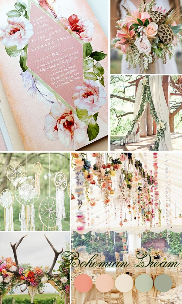 This Boho wedding invitations theme is filled with large, playful roses which contrast perfectly with the smaller, understated text. The abundant use of pink tones in this theme gives this line a playful, feminine quality. The lively design makes this theme perfect for springtime weddings.