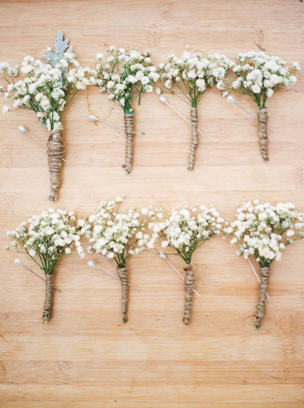 #TOMSforProm Pro Tip: Baby's Breath and twine are cost-efficient DIY ingredients for the perfect boutonniere or corsage.