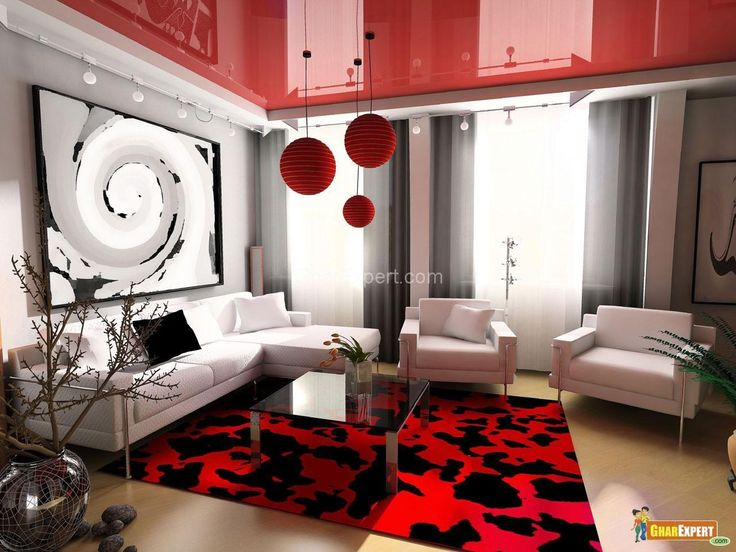 [Living Room] : Attractive Living Room Design With Black White And Red  Interior Available White Sofa Sets With Black And White Cushion With Glass  Coffee ...