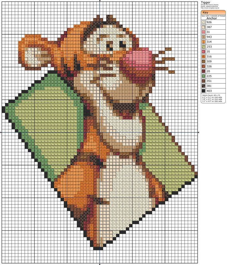 Tigger Kingdom Hearts Cross Stitch