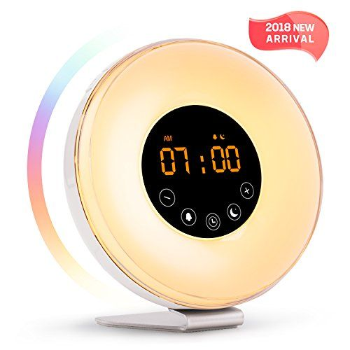 Wake Up Light Alarm Clock with Sunrise Sunset Simulation[2018 New Arrival] Include 6 Natural Sounds/FM Clock Radio/10 Brightness Levels/7 Colors Night Light/Snooze Function