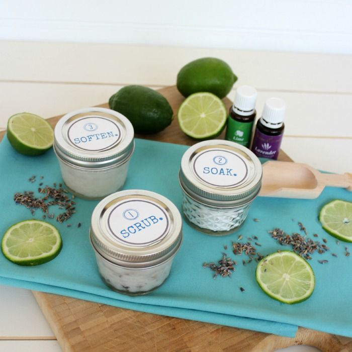 Great gift idea! Lavender + Lime DIY Pedicure Kit ! Perfect for Mother's Day and a FREE PRINTABLE is included! Via View From The Fridge