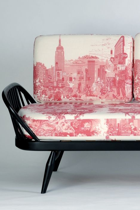 Timorous Beasties; 'New York City Toile' Linen-Cotton Fabric.